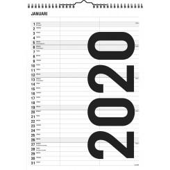 Familiekalender sort/hvid lille, 2020