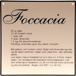Foccacia opskrift på metal skilt