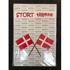 Gigant kort m. kuvert - Stort tillykke med flag