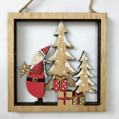 Juleophæng i træ, firkant m. julemand
