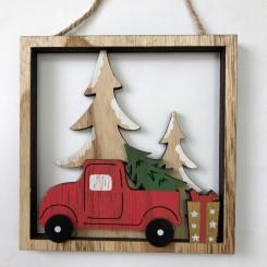 Juleophæng i træ, firkant m. bil