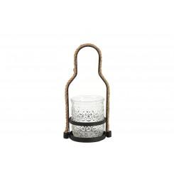 Lanterne sort metal m. glas & snor