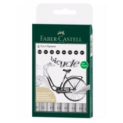 Faber Castell Ecco Pigment Fineliner, 8 stk.