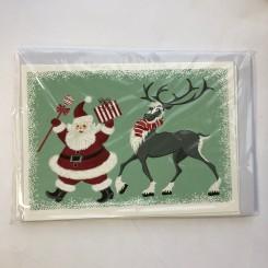 4 dobbeltkort m. kuvert - Julemotiv - Julemand/Isbjørn