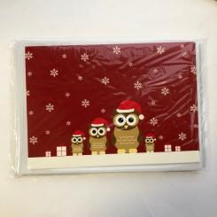 4 dobbeltkort m. kuvert - Julemotiv - Ugler