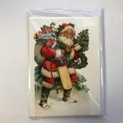 4 dobbeltkort m. kuvert - Julemotiv - Engle/Julemand