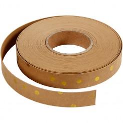 Læderpapir, flettestrimler, guldprint, 9,5m