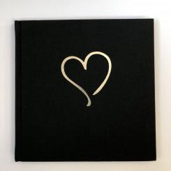 Gæstebog, sort tekstilpræg hjerte