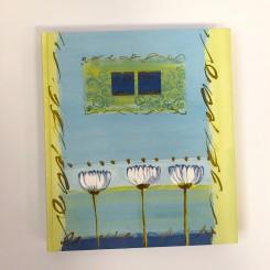 Gæstebog, grøn/blå m. hvid blomst