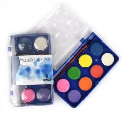 Vandfarver m. pensel, 8 farver