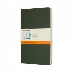 Moleskine, Cahiers Journal, 3 stk., stor, linieret, grøn