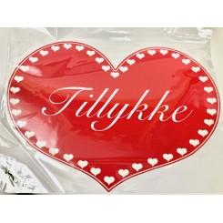 Hjerte, TILLYKKE, 49x35,5 cm