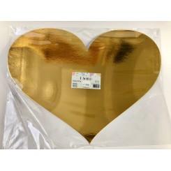 Hjerte, guld, 48x35 cm