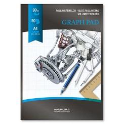Millimeterpapir A4, 50 ark, blå