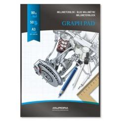 Millimeterpapir A3, 50 ark, blå