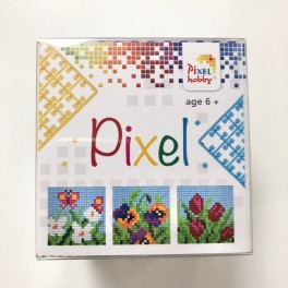 Pixel mosaic cube, blomster