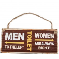 Metalskilt - Toilet men-woman, brown