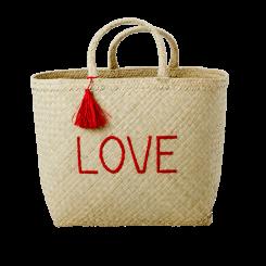 Rice raffia shoppingtaske LOVE