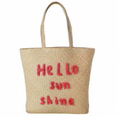 Rice raffia shoppingtaske Hello Sunshine
