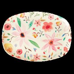 Rice rektangulær melamin tallerken, Selmas flower print