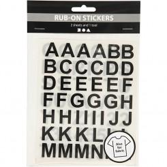 Rub on stickers, bogstaver og tal, sort