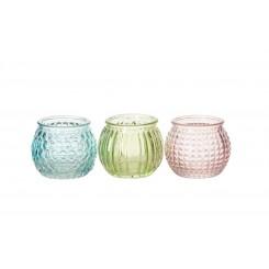 Fyrfadsglas i pasteller 3 ass., små