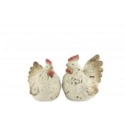 Keramik høns 2 ass. creme