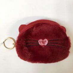Kattepung med pels, rød