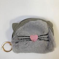 Kattepung med pels, grå