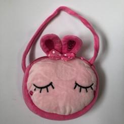 Plystaske med ansigt, pink kanin