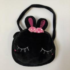 Plystaske med ansigt, sort kanin
