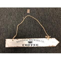 Vintage træ skilte, National Brewers, hvid