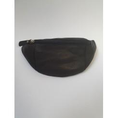 Bæltetaske, skind, sort