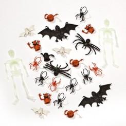 Blandet pose med plastik edderkopper og skelletter