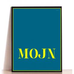 MutMut plakat 30 x 40 cm - MOJN guld på petroleum