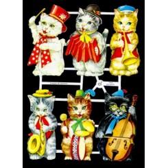 Glansbilleder katte med instrumenter / 3-7043