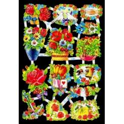 Glansbilleder blomsterkurve og kranse / 3-7008