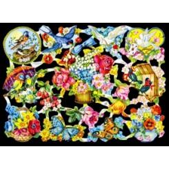 Glansbilleder blomster og fugle / 3-7110