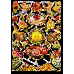 Glansbilleder blomster og børn / 3-7022
