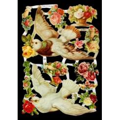 Glansbilleder duer og blomster / 3-7092