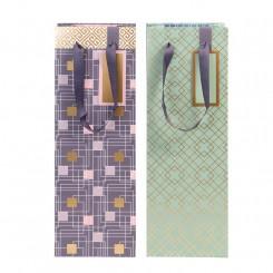 Gavepose til flasker, grå med mønster