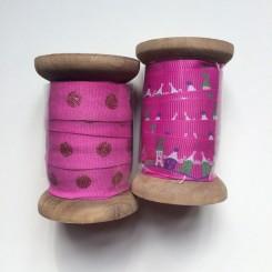 Stofbånd, 15mm, pink, 3m
