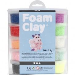 Foam Clay®, ass. farver, glitter, 10x35g