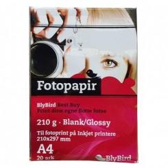 Fotopapir A4 Glossy 210g. 20 ark