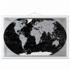 Vægkort Verden Black/Silver 97x67cm