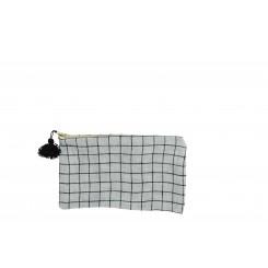Skakternet lille stof pung, grå