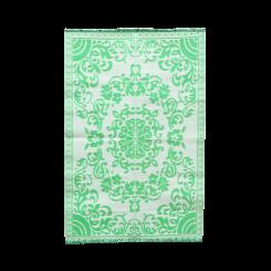 Gulvtæppe, grøn & hvid