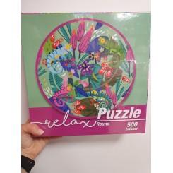 Relax puzzle rund 500 brikker, kameleon