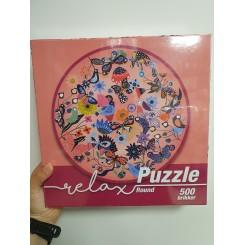 Relax puzzle rund 500 brikker, fugle