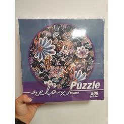 Relax puzzle rund 500 brikker, tiger